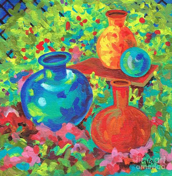 Painting - Ornamental Garden. by Val Stokes