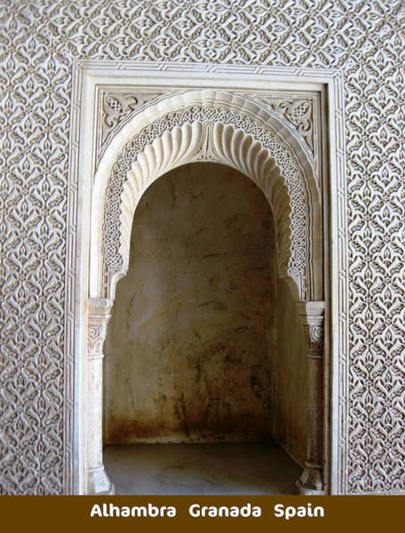 Photograph - Ornate Elaborate Artistic Doorway In Alhambra Granada Spain by John Shiron