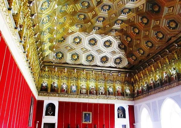 Photograph - Ornate Hall Golden Ceiling Work Of Miniature King Statues In Segovia Castle Spain by John Shiron