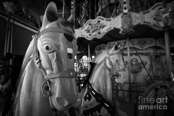 Fair Ground Photograph - Ornate Horses On An Empty Carousel Merry-go-round In The Uk by Joe Fox
