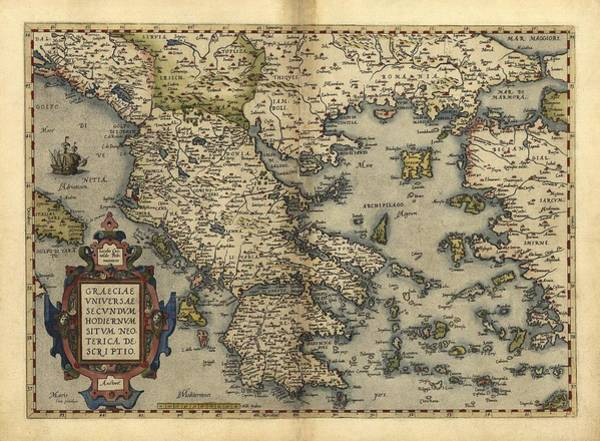 Wall Art - Photograph - Ortelius's Map Of Greece, 1570 by Library Of Congress, Geography And Map Division