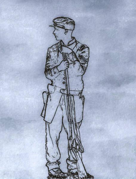 Our Boy In Blue Soldier Sketch Art Print