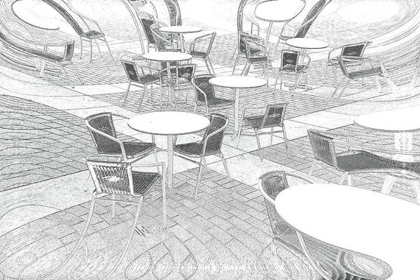 Pencil Sketch Photograph - Outdoor Cafe by Tom Gowanlock