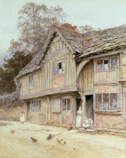 Broom Wall Art - Painting - Outside A Timbered Cottage by Helen Allingham