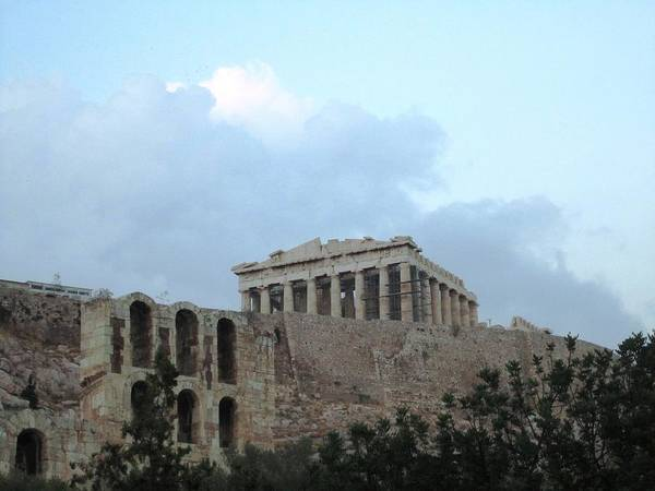 Photograph - Overcast Cloudy Day II At Acropolis Parthenon Palace In Athens Greece by John Shiron
