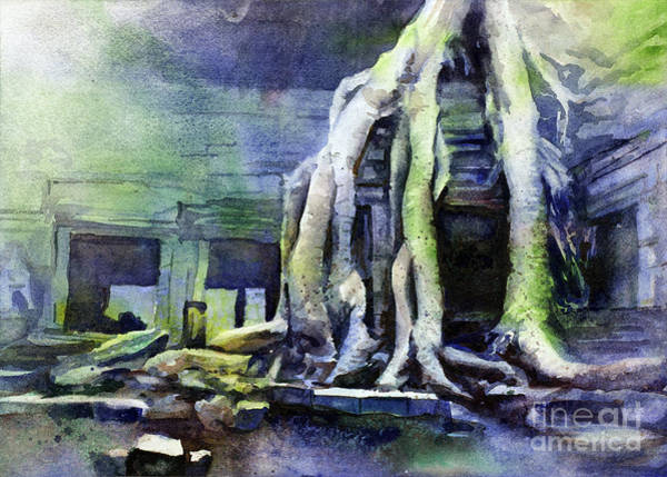World Heritage Site Painting - Overgrown Cambodian Temple by Ryan Fox