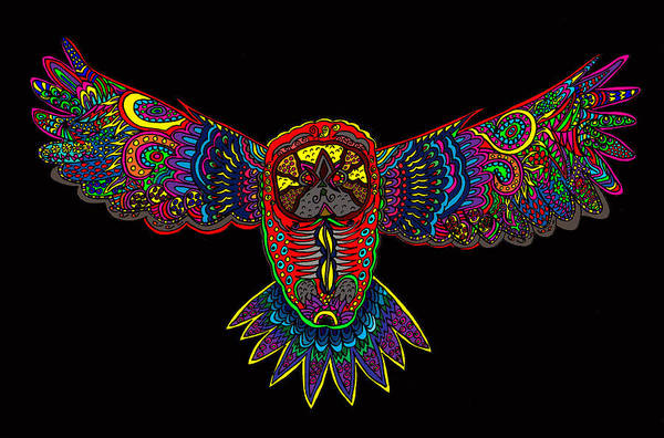 Wall Art - Painting - Owl 1 by Karen Elzinga