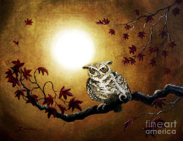 Owl Digital Art - Owl In Maple Leaves by Laura Iverson