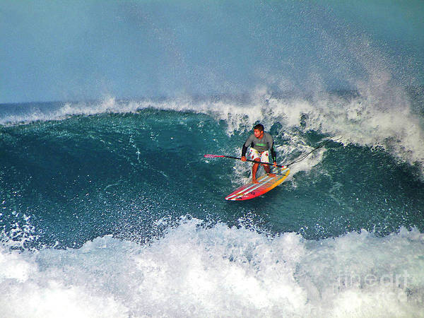 Photograph - Paddleboarder Rides The Break by Bette Phelan