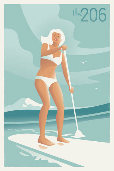 Lake Digital Art - Paddleboarding Seattle by Mitch Frey