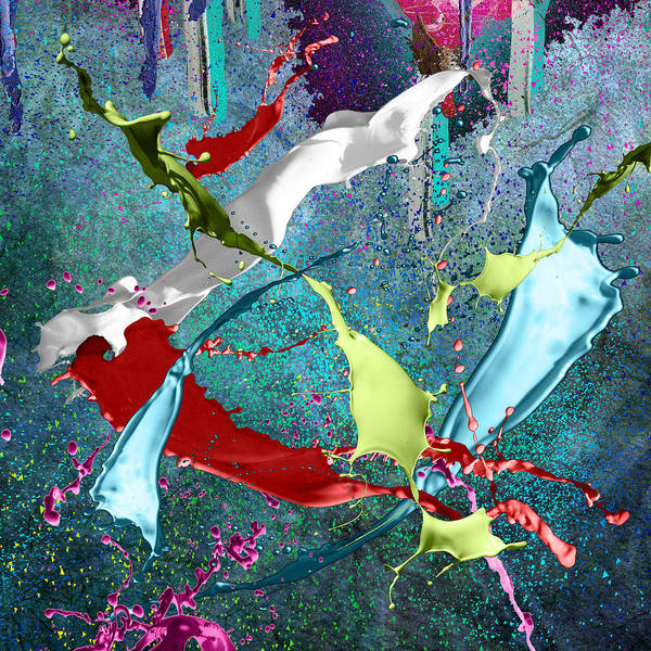Pale Blue Dot Wall Art - Digital Art - Paint Splashes by Svetlana Sewell
