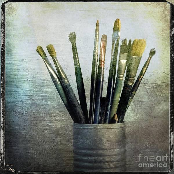 Tin Box Photograph - Paintbrushs by Bernard Jaubert