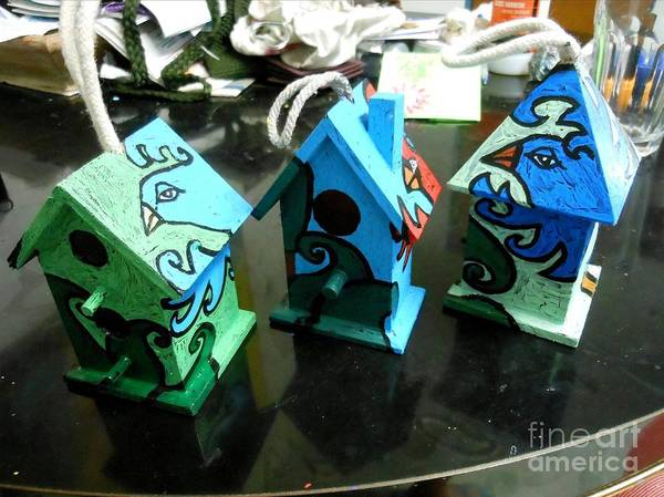 Birdhouse Painting - Painted Birdhouses by Genevieve Esson