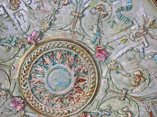Mixed Media - Painted Ceiling Medallion 32inch by Lizi Beard-Ward