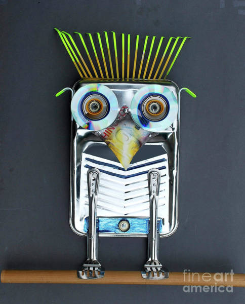 Mixed Media - Painter Owl by Bill Thomson