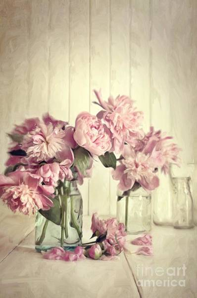 Wall Art - Photograph - Painting Of Pink Peonies In Glass Jar/digital Painting   by Sandra Cunningham