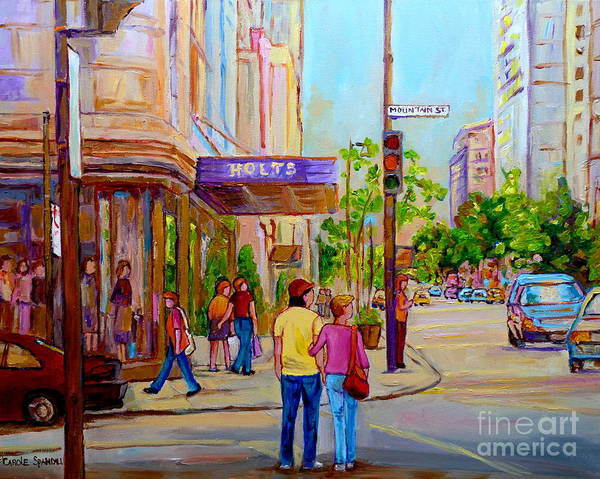 Painting - Paintings Of Montreal Streets Holt Renfrew Sherbrooke Street by Carole Spandau