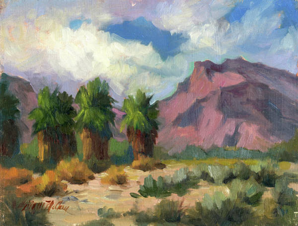 Wall Art - Painting - Palms And Indian Head Mountain by Diane McClary