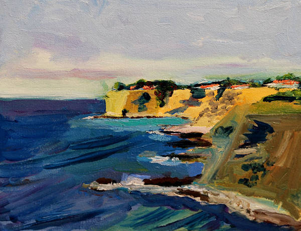 Point Vicente Wall Art - Painting - Palos Verdes Cliffs Seen From Point Vicente In Palos Verdes Ca by Marcus Greene