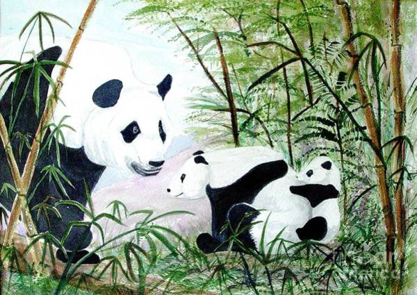 Wall Art - Painting - Panda Family by Pauline Ross