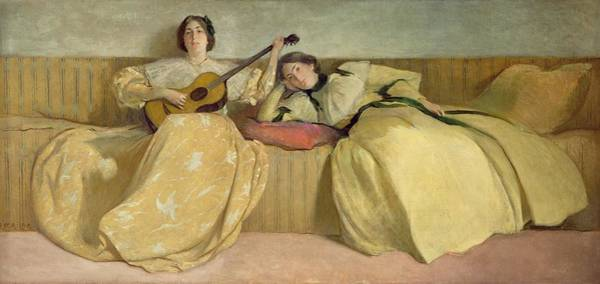 Strum Wall Art - Painting - Panel For Music Room by John White Alexander