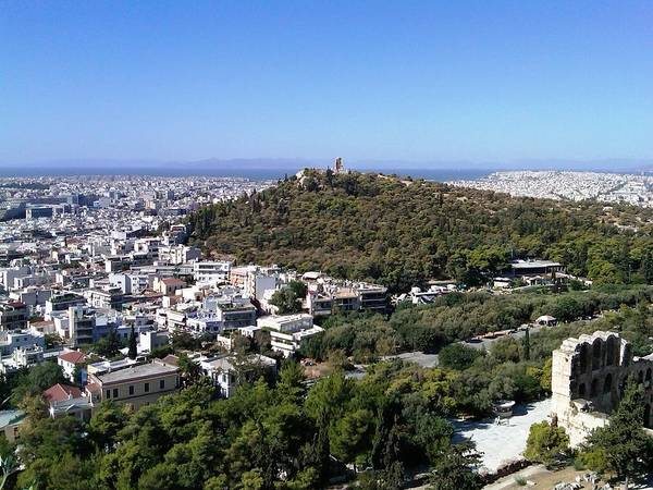 Photograph - Panoramic View Of Athens And The Mediterranean Sea From Acropolis Greece by John Shiron