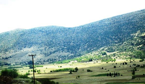 Photograph - Panoramic View Of Green Mountains Valleys And Pastures On The Way To Olympia Greece by John Shiron