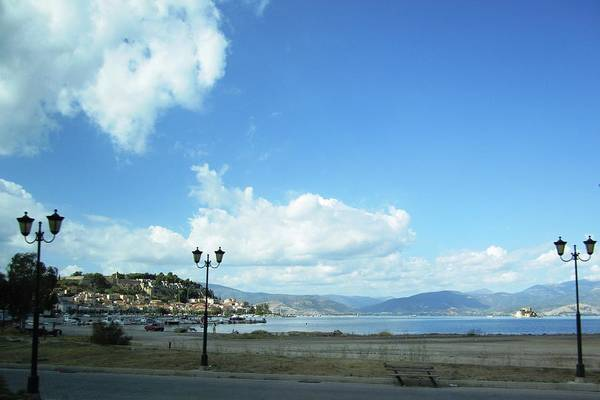 Photograph - Panoramic View Of Nafplion Bay Homes And The Mountain Range In Greece by John Shiron