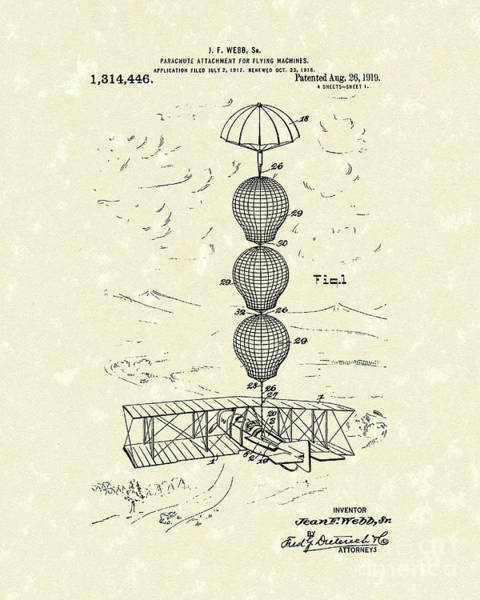 Flight Drawing - Parachute Attachment For Flying Machines 1919 Patent Art by Prior Art Design