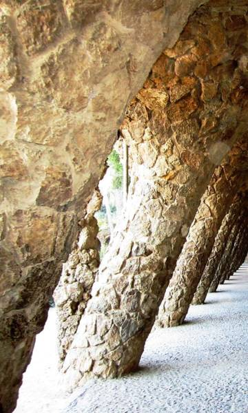 Photograph - Parc Guell Tilted Stone Columns II By Gaudi Barcelona Spain by John Shiron