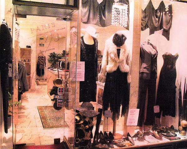 Window Shopping Photograph - Paris Couture Dress Shop Window Fashion  by Kathy Fornal