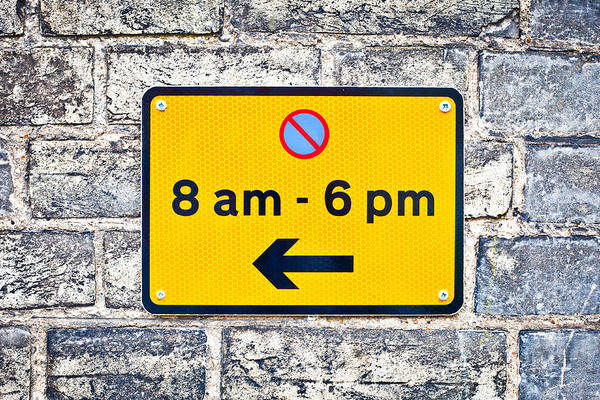 Restriction Photograph - Parking Sign by Tom Gowanlock