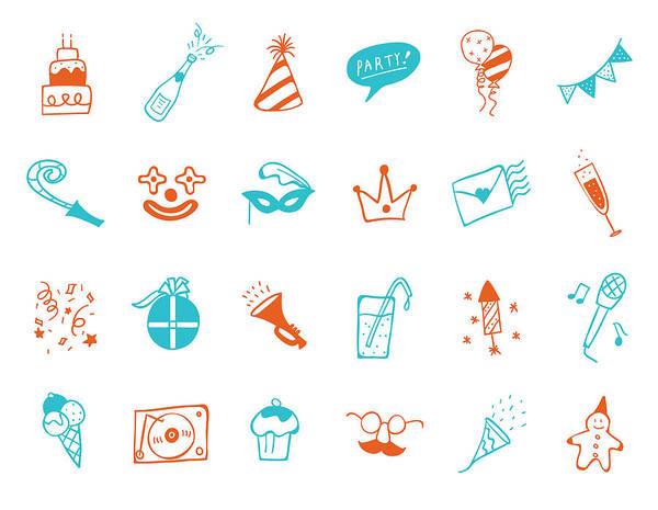 Ice Cream Cones Digital Art - Party Icon Set by Eastnine Inc.