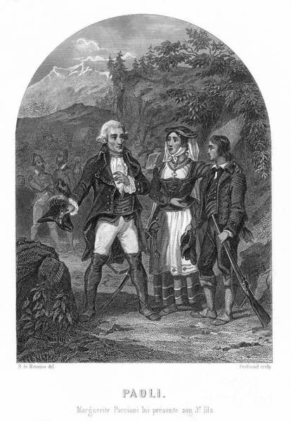 Pasquale Photograph - Pasquale Di Paoli (1725-1807). Corsican Patriot. Margherita Paccioni Presenting Her Third Son To General Paoli: Steel Engraving, French, 19th Century, By Ferdinand After R. De Moraine by Granger