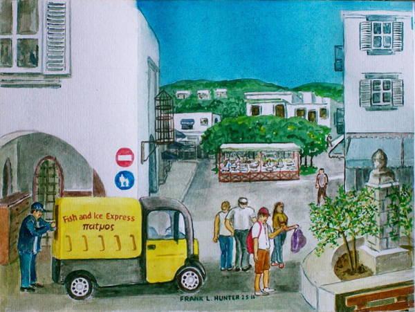 Patmos Fish Monger Art Print