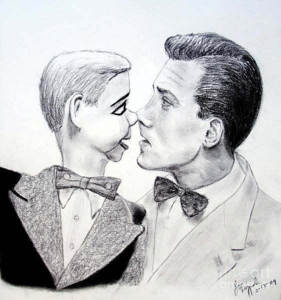 Tigger Wall Art - Drawing - Paul Winchell And Ventriloquist Dummy Jerry Mahoney  by Jim Fitzpatrick