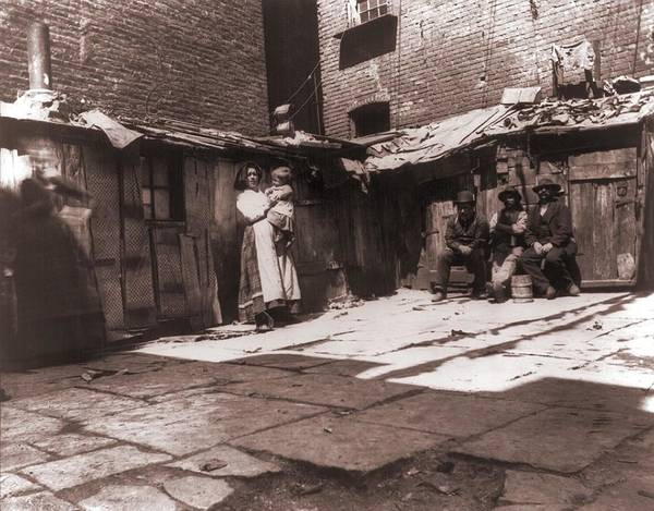 Italian Immigrants Wall Art - Photograph - Paved Yard Lines With Outdoor Latrines by Everett