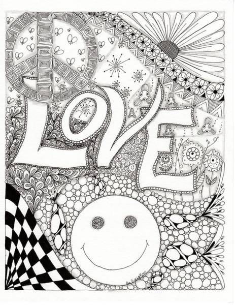 Fireworks Drawing - Peace Love And Happiness by Paula Dickerhoff