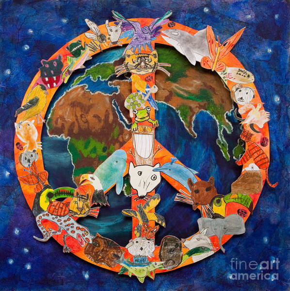 Peace Sign Mixed Media - Peaceful Kingdom by Second Grade Class Class