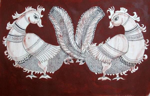 Kalamkari Painting - Peacocks by Asha Sudhaker Shenoy