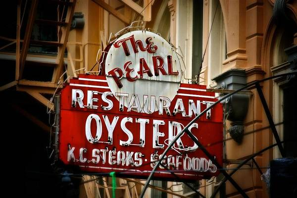 Photograph - Pearl Restaurant Sign by Jim Albritton