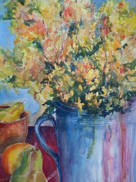 Forsythia Painting - Pears And Petals by Sandy Collier