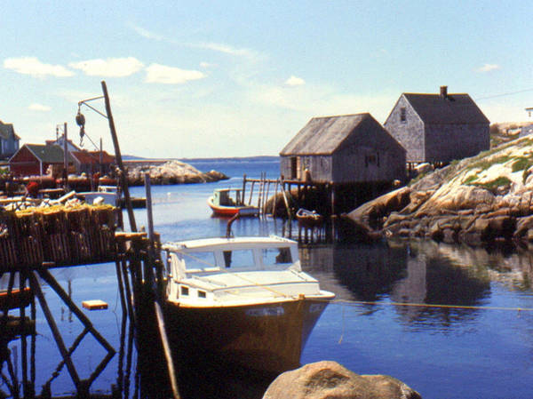 Mixed Media - Peggy's Cove Fishing Boats And Jetties by Bruce Ritchie
