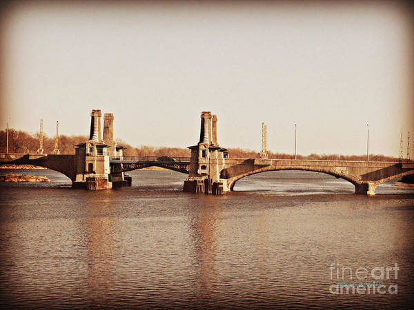 Photograph - Pelham Bridge In Sepia by Paulette B Wright