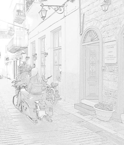 Photograph - Pencil Sketch Look Girl Riding Motorcycle Bike Rider Speed Stone Paved Street In Nafplion Greec by John Shiron