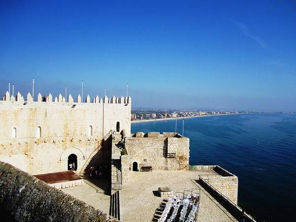 Photograph - Peniscola Beach Castle Sea View At The Mediterranean In Spain by John Shiron