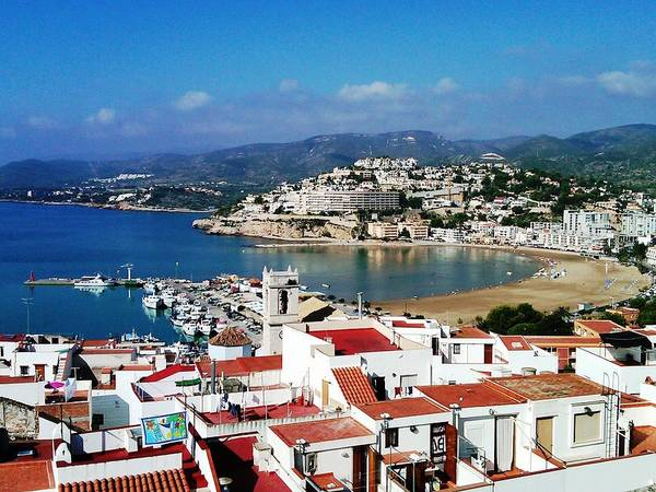 Photograph - Peniscola Beach Marina Boats Sea View Waterfront Homes By The Mediterranean In Spain by John Shiron
