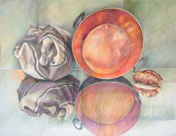 Indian Corn Drawing - Perol Con Bulto Y Pan by Sonia Tudela