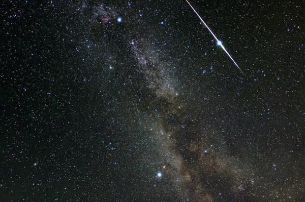 Perseid Wall Art - Photograph - Perseid Meteor Shower, Meteor Track by Eckhard Slawik