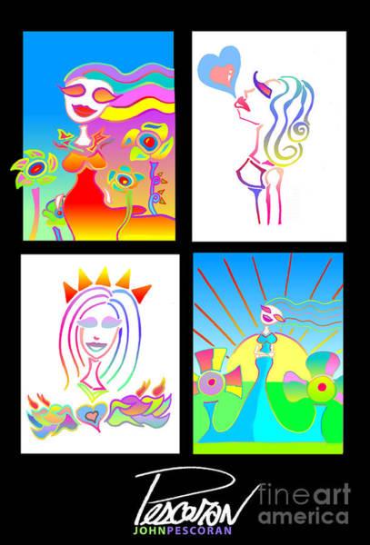 Pescoran Wall Art - Drawing - Pescoran Love Will Blossom Series by John Pescoran